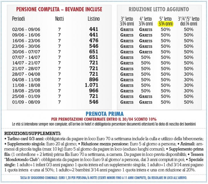 Tariffe Villaggio Torre del Faro