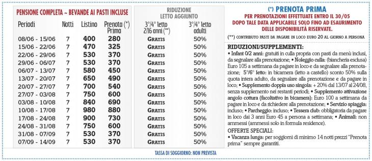 Tariffe Villaggio Club La Pace