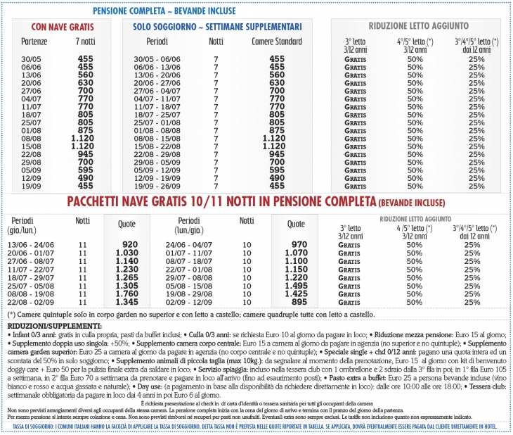 Tariffe Cala Luas Resort