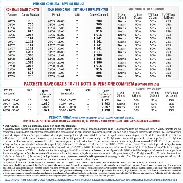 Tariffe I Giardini di Cala Ginepro Resort