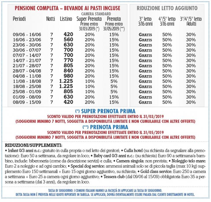 Tariffe Pizzo Calabro Resort