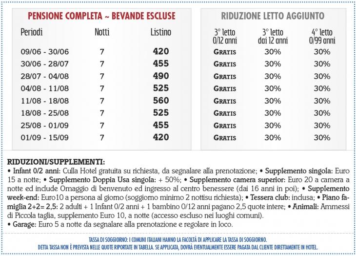 Tariffe Cristallo Club & Wellness