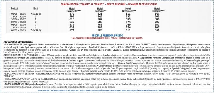 Tariffe Sport Hotel & Club Il Caminetto