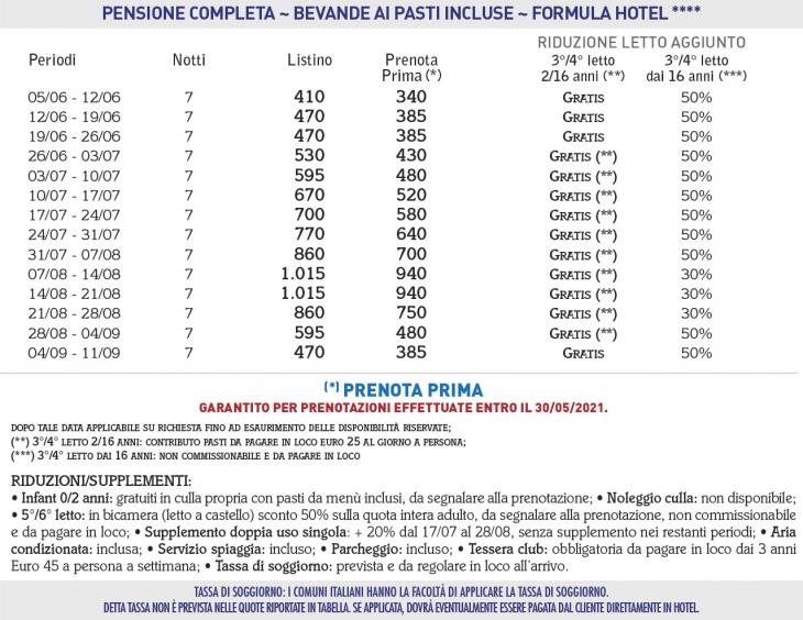 Tariffe Villaggio Resort Club La Pace